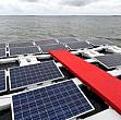 panouri solare plutitoare pe apele unui lac de acumulare din brazilia