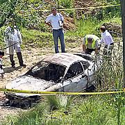 mehedinti cadavre carbonizate in masina incendiata