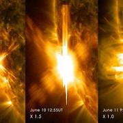 nasa trei explozii solare puternice au fost inregistrate in ultimele doua zile