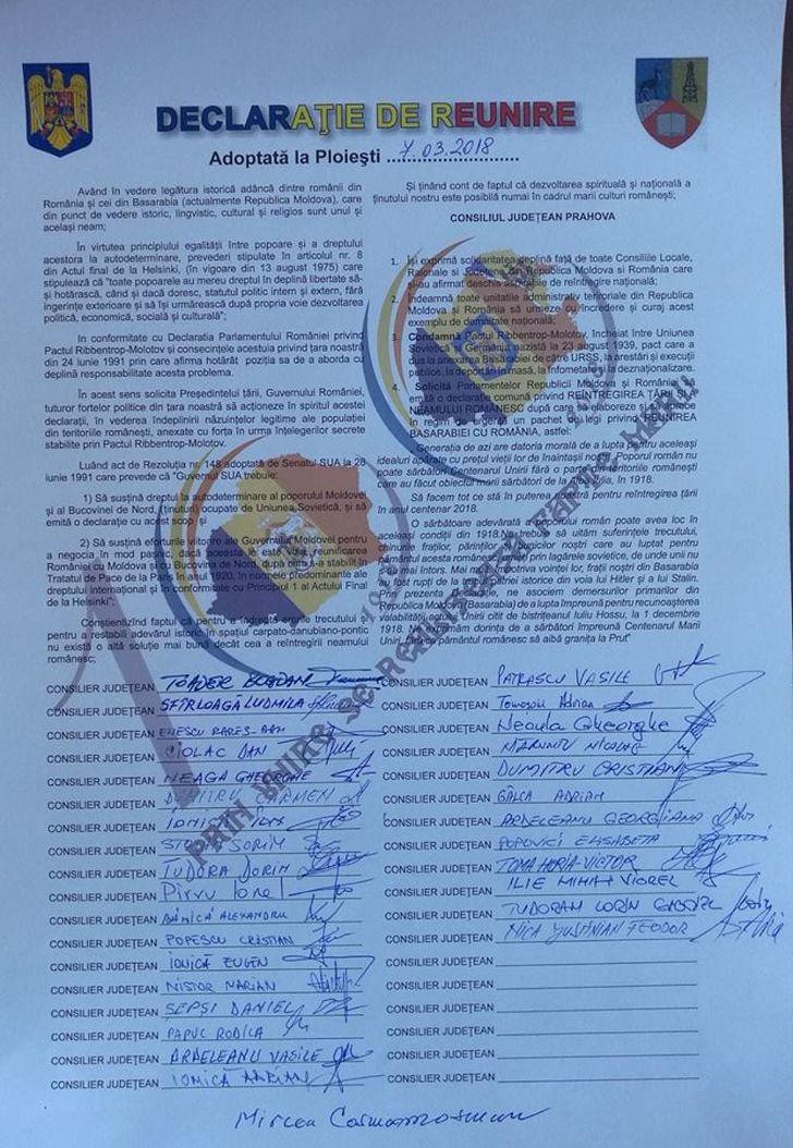 anul centenar anul reunirii consilierii judeteni prahoveni au semnat declaratia de reunire